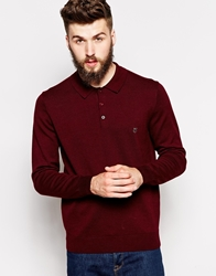 Peter Werth Long Sleeve Knitted Polo Burgundy