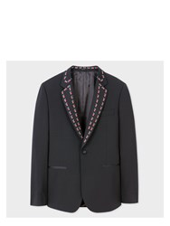 Paul Smith Men's Tailored Fit Black Stretch Wool Evening Blazer With 'Strawberry