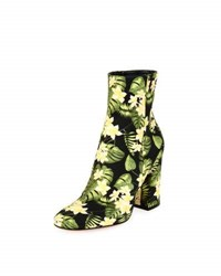 Gianvito Rossi Floral Print Block Heel Boot Yellow