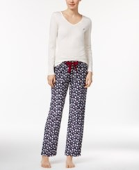 Nautica V Neck Knit Top And Flannel Pajama Pants Gift Set White Presents