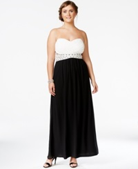 City Chic Plus Size Convertible Colorblocked Gown Black