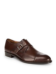 Massimo Matteo Leather Monk Strap Dress Shoes Dark Brown