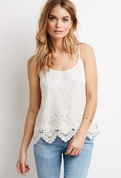 Forever 21 Embroidered Mesh Crochet Paneled Cami Ivory Cream