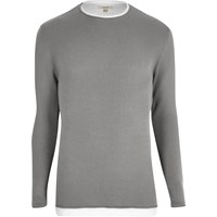 River Island Mens Grey Layered Longline Jumper