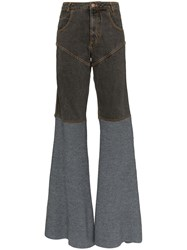 Telfar Two Tone Flared Jeans Grey