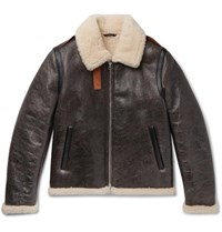 Acne Studios Shearling Lined Textured Leather Jacket Brown