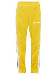 Palm Angels Side Stripe Technical Jersey Track Pants Yellow White