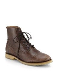 Diesel Pure Leather High Top Lace Up Boots Coffee