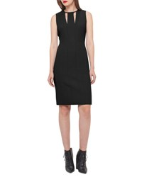 Akris Sleeveless V Keyhole Sheath Dress Black Moonstone Black Moonstone