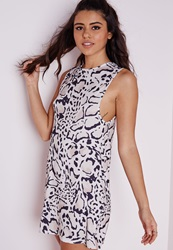 Missguided Low Armhole Jersey Shift Dress Leopard Print Animal Print