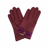 Gizelle Renee Polly Purple Leather Gloves With Plum Cashmere Pink Purple