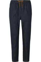 Brunello Cucinelli Bead Embellished Denim Tapered Pants Dark Denim
