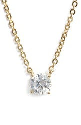 Nordstrom Cubic Zirconia Pendant Necklace Clear Gold