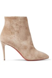 Christian Louboutin Eloise 85 Suede Ankle Boots Beige