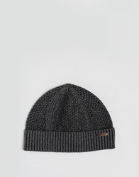 Ted Baker Beanie Hat Waffle Knit Grey