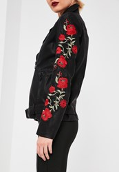 Missguided Petite Black Embroidered Faux Leather Biker Jacket