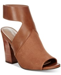 Call It Spring Dwarian Perforated Block Heel Sandals Women's Shoes Camel