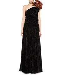 Saint Laurent One Shoulder Velvet Gown With Leather Flower Black Pattern