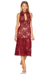 Endless Rose Sleeveless Lace High Neck Midi Dress Burgundy