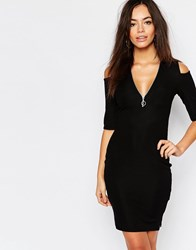 Daisy Street Zip Front Body Conscious Dress With Cold Shoulder Black