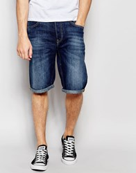 Lee Denim Shorts 5 Pocket Straight Fit In Blue Sphere Dark Wash Blue Sphere