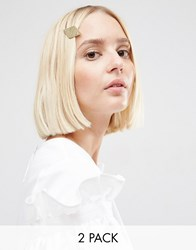 Asos Pack Of Two Diamond Chain Hair Clips Mixed Metal Multi