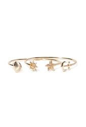 Forever 21 Nautical Charm Cuff Set Gold
