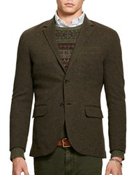 Polo Ralph Lauren Double Knit Cotton And Wool Long Sleeve Blazer Green