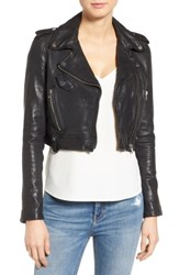 Lamarque Washed Leather Crop Moto Jacket