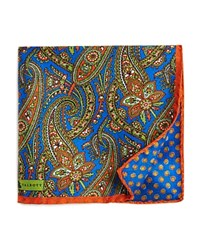 Robert Talbott Allover Paisley Silk Pocket Square Blue Orange