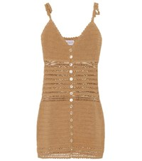 She Made Me Sita Crochet Knit Minidress Beige