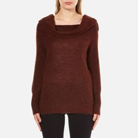 Gestuz Women's Oba Scoop Neck Detail Jumper Burnt Henna Burgundy
