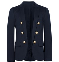 Balmain Blue Slim Fit Cotton Jersey Blazer Blue