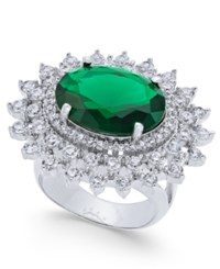Joan Boyce Silver Tone Oval Center Crystal Statement Ring Emerald