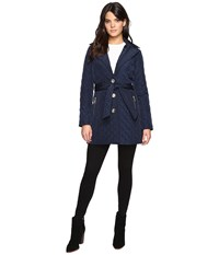Michael Michael Kors Missy Long Belted Quilt M422034t Navy Women's Coat