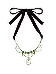 Miu Miu Crystal And Faux Pearl Embellished Necklace Green