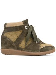 Etoile Isabel Marant Wedge Sneakers Calf Suede Cotton Leather Rubber Green