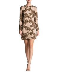Dress The Population Sequined Leaf Motif Sheath Nude Bronze