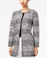 Cable And Gauge Metallic Sweater Coat Black Combo