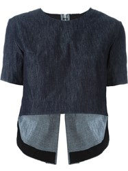 Tim Coppens Raw Edge Lace Up Back Denim Effect Cropped T Shirt Blue