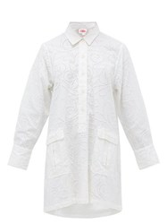 Solid And Striped Eyelet Embroidered Cotton Shirtdress White