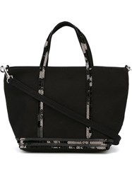 Vanessa Bruno Small Sequin Trim Shopping Tote Black