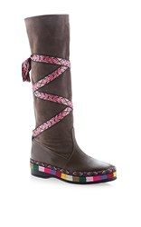 Etro Leather Boot With Ribbon Lace Up Brown