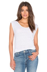 Velvet By Graham And Spencer Cortina Linen Slit Scoop Neck Tank White