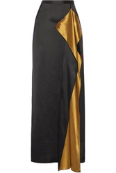 Rosetta Getty Draped Satin Maxi Skirt Black