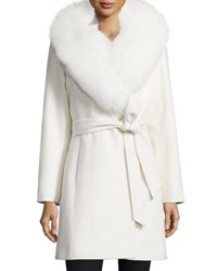Sofia Cashmere Fur Collar Belted Wrap Coat White