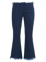 Marques Almeida Frayed Edge Flared Cropped Jeans Indigo