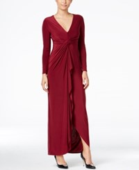 Thalia Sodi Long Sleeve High Low Maxi Dress Napa Wine