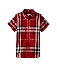 Burberry Regular Fit Shirt With One Front Pocket Little Kids Big Kids Parade Red Men's Short Sleeve Button Up Multi