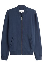 Maison Martin Margiela Zipped Cotton Jacket With Leather Elbow Patches Blue